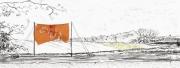 Entwurf Fahne 2, 2017, Pastell, Ölkreide, Bleistift auf Papier, 40x104 cm, Zitat von Ovid: Alles ändert sich!