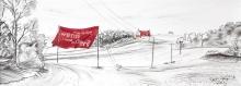Entwurf Fahne 3, 2017, Pastell, Ölkreide, Bleistift auf Papier, 40x104 cm, Frage: Was wäre wenn ohne aber?