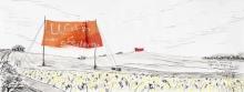 Entwurf Fahne 5, 2017, Pastell, Ölkreide, Bleistift auf Papier, 40x104 cm, Zitat von Ernst Bloch: Man muss ins Gelingen verliebt sein, nicht ins Scheitern!