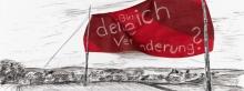 Entwurf Fahne 6, 2017, Pastell, Ölkreide, Bleistift auf Papier, 40x104 cm, Frage: Bin ich deine Veränderung?
