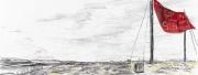 Entwurf Fahne 13, 2017, Pastell, Ölkreide, Bleistift auf Papier, 40x104 cm, Frage: Wohin geht das Licht, wenn man im Schatten sitzt?