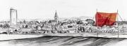 Entwurf Fahne 14, 2017, Pastell, Ölkreide, Bleistift auf Papier, 40x104 cm, Zitat von Bertha von Suttner: Feinde der Menschheit, die da sind: Roheit und Lüge!