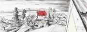Entwurf Fahne 15-Position Oberschoderlee, 2017, Pastell, Ölkreide, Bleistift auf Papier, 40x104 cm, Frage: Wieviel ist genug?