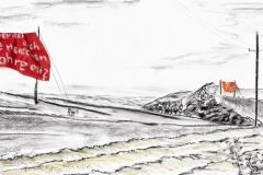 Entwurf Fahne 4, 2017, Pastell, Ölkreide, Bleistift auf Papier, 40x104 cm, Frage: Warum werden auch böse Menschen 100 Jahre alt?