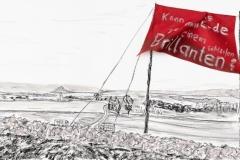 Entwurf Fahne 7, 2017, Pastell, Ölkreide, Bleistift auf Papier, 40x104 cm, Frage: Kann man die Erde zu einem Brillanten schleifen?