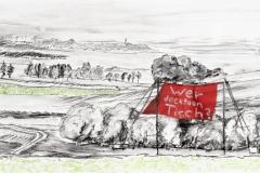 Entwurf Fahne 9, 2017, Pastell, Ölkreide, Bleistift auf Papier, 40x104 cm, Frage: Wer deckt den Tisch?