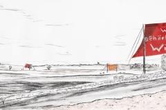 Entwurf Fahne 10, 2017, Pastell, Ölkreide, Bleistift auf Papier, 40x104 cm, Frage: Wem gehört der Wind?