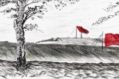 Entwurf Fahne 12, 2017, Pastell, Ölkreide, Bleistift auf Papier, 40x104 cm, Frage: Wie oft werde ich die Erde noch umrunden?