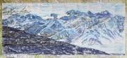 28 Tage Zu Besuch In Bad Ischl, 2021, Eine Erinnerung, 100 x217 cm, Pastell auf Tagesprotokollen und Wanderkarten