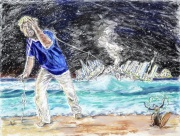 Der Inselnsammler, 2021, Pastell auf Dipond, 50x66 cm