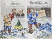 Zwerge; Was sie alles sagen, hören und sehen! 06.12.2020, Pastell auf Wiener Zeitung vom 03.12.2020