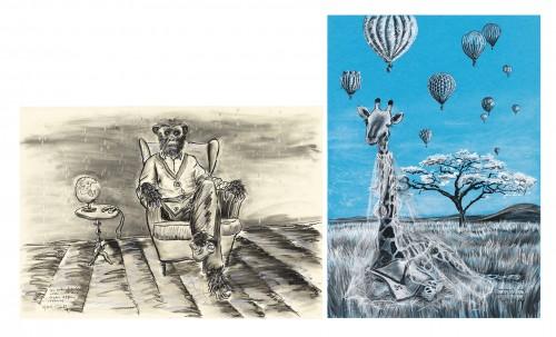 Noch vor Adam und Eva, 2019, Öl- und Pastelkreide, Graphitstift, Farbkarton, je 100x70 cm